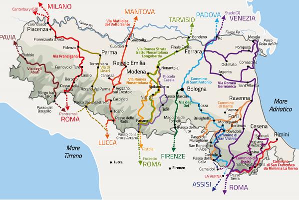 Cartina Politica Emilia Romagna.Cammini Dell Emilia Romagna Online La Mappa Programma